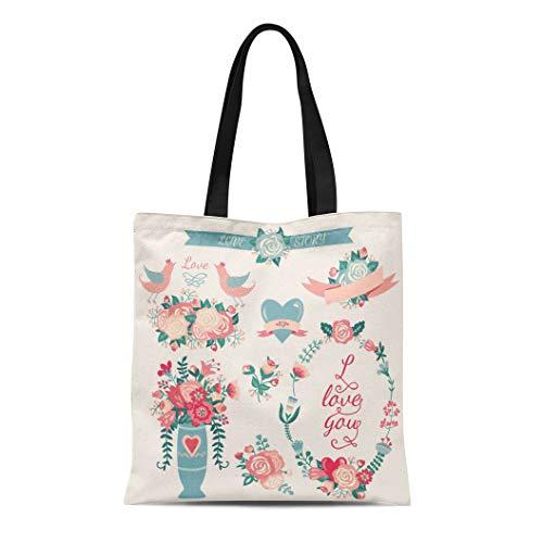 - Semtomn Canvas Tote Bag Shoulder Bags Pink Rose Wedding Collection Such As Ribbon Birds Flowers Women's Handle Shoulder Tote Shopper Handbag