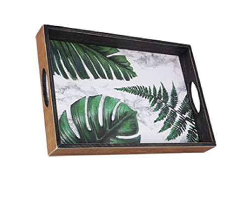 (youngs Inc Wood Palm Leaf Serving Tray, Multi)
