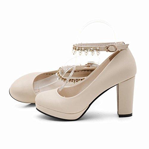 Block Shoes Charm Platform Women's Shoes Heel Mee Court Beige xwIPSq6w0E