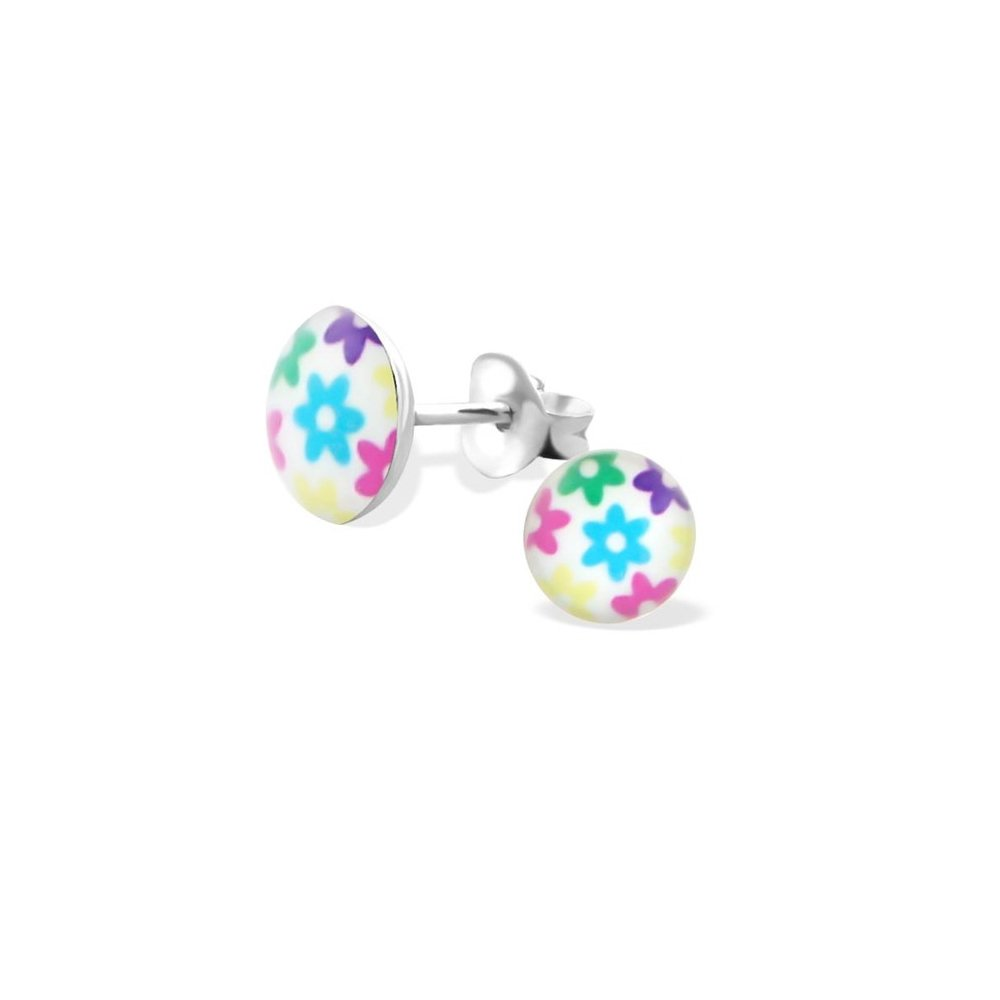 925 Sterling Silver Colored Flowers Colorful Ear Studs