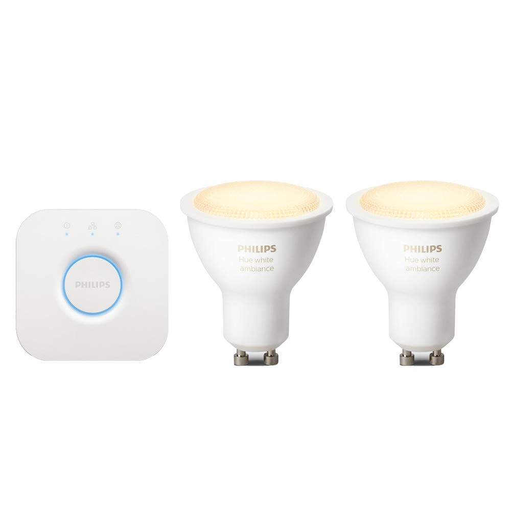 Philips Hue White Ambiance GU10 LED Spot Starter Set, inkl. Bridge, dimmbar, alle Weiß schattierungen, steuerbar via App, kompatibel mit  Alexa (Echo, Echo Dot)