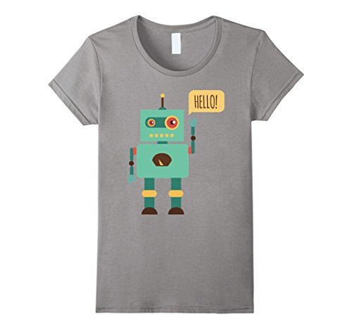 Womens HELLO! Robot Cute Funny Nice T-Shirt Medium Slate