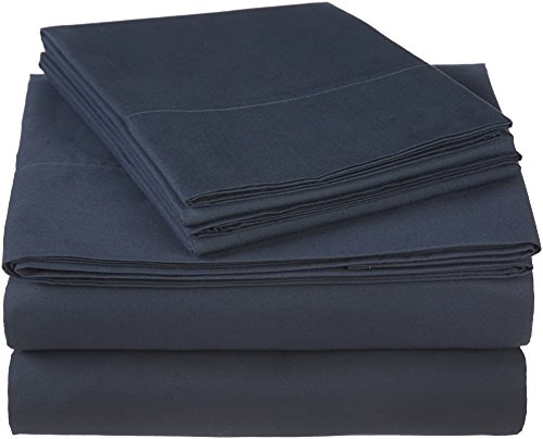 (Pinzon 300 Thread Count Ultra Soft Cotton Bed Sheet Set, California King, Midnight Blue)
