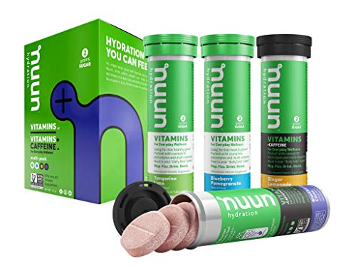Nuun Hydration: Vitamin + Electrolyte + Caffeine Drink Tablets, Half Caf Mixed Flavor Pack, Box of 4 Tubes (48 servings), Enhanced Formula with a Kick