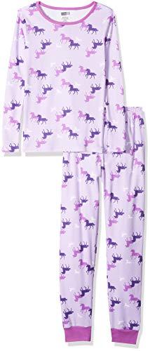 Crazy 8 Girls' Big 2-Piece Long Sleeve Tight Fit Pajama Set, Unicorn Tonal Purple, -