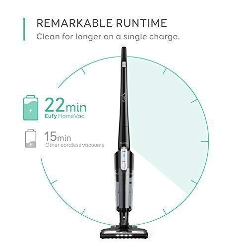 eufy HomeVac Lightweight Cordless Upright-Style Vacuum Cleaner, 28.8V 2200 mAh Li-ion Battery Powered Rechargeable Bagless Stick and Vacuum with Wall Mount - Black by eufy (Image #2)