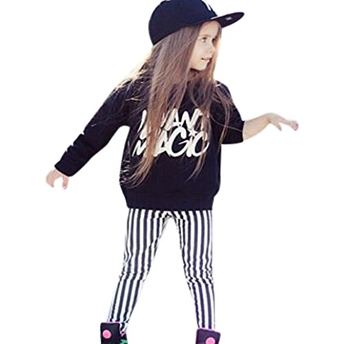 DaySeventh 2PCS Toddler Kids Girls Outfits T-shirt Tops Dress+ Pants Clothes Set (3T, Black (Halloween Information For Students)