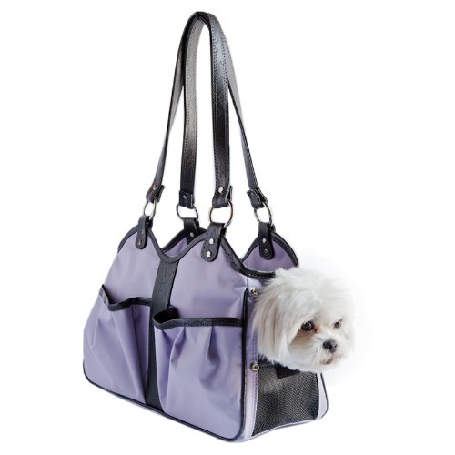 Petote Metro Dog Carrier Bags with 2 Open Pockets, Lilac, Petite by Petote