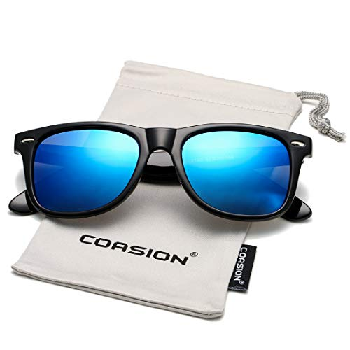 COASION Classic Polarized Sunglasses for Men Women Retro UV400 Brand Designer Sun Glasses (Bright Black Frame/Blue Mirror Lens) ()