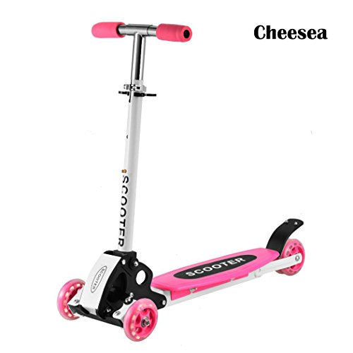 Cheesea 3 Wheels Cute Toddler Scooter – Pink Adjustable Height T-Bar Kick Push Toy Scooter Perfect for 2-8 Years Old