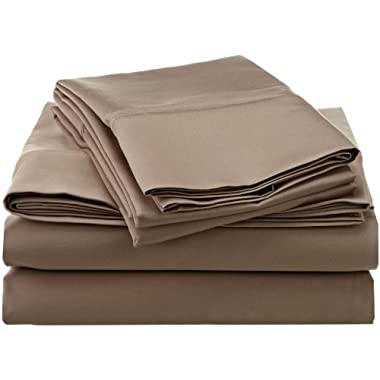 1200 Thread Count Premium Egyptian Cotton, Single Ply, Queen Bed Sheet Set, Solid, Taupe