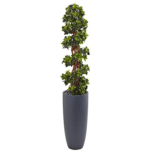 - Nearly Natural Indoor/Outdoor English Ivy Spiral Topiary Artificial Tree in Gray Cylinder Planter UV Resistant