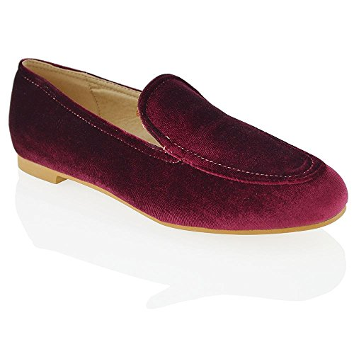 Pumps Casual Shoes On Classis Flat ESSEX Slip Ladies Womens Velvet GLAM Velvet Office Work Loaders Burgundy PwH81O