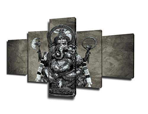 (Ganesha Painting Shiva Canvas Wall Decor 5 Piece Art Pictures Hang Posters on Wall Home Decor for Living Room Modern Artwork Giclee Wooden Framed Gallery-Wrapped Stretched Ready to Hang(50''Wx24''H))
