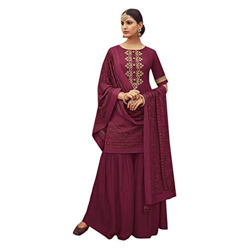 - Pure Silk Punjabi Pakistani Formal Wedding Function Garara Ready to Wear Salwar Kameez Palazzo Muslim 7425 (2, Mauve)