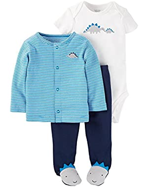 Carter's Just One You Baby Boys' 3 Piece Striped Dino Cardigan Set- Blue