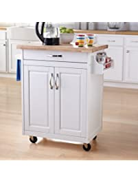 Portable, Traditional Cabinet Design, Solid Wood Top, Kitchen Island Cart  (White)