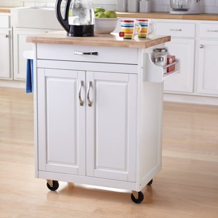 Mainstay Kitchen Cart Rolling Island Storage Unit Cabinet Utility Portable Home Microwave Wheels Butcher Wood Top Drawer Shelf White
