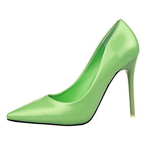 Scarpe Da Donna Allhqfashion Con Tacco Alto E Punta Chiusa In Vernice Verde