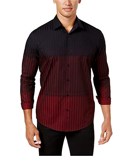 Alfani Mens Ombre Stripe Button up Shirt Red L