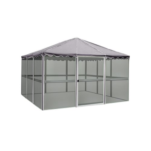 Casita 12-Panel Square Screenhouse 21122, White with Gray Roof