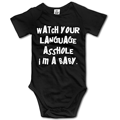 Infant Watch Your Language Asshole Im A Baby Cute Baby Onesie Bodysuit Oklahoma State University Baby Clothes