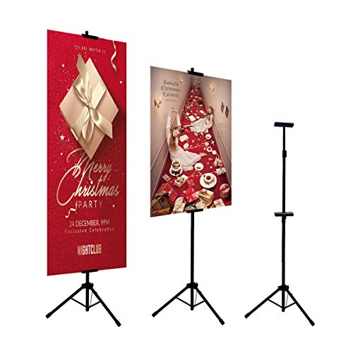 HUAZI Double-Sided Poster Stand,Floorstanding Sign Stand for Display,Height Adjustable up to 73 inches for Board Sign (Stand only)]()