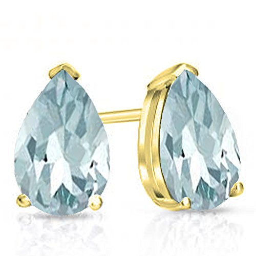 Dazzlingrock Collection 10K 6x4mm Each Ladies Solitaire Stud Earrings 1 CT, Yellow Gold
