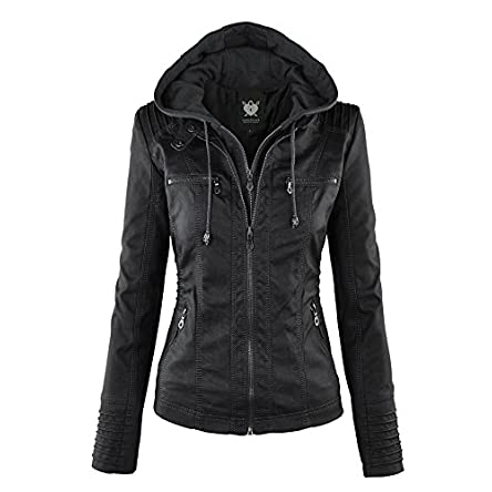 Lock and Love Women's Removable Hooded Faux Leather...