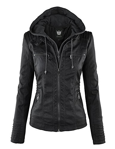 (Lock and Love LL WJC663 Womens Removable Hoodie Motorcyle Jacket M Black )
