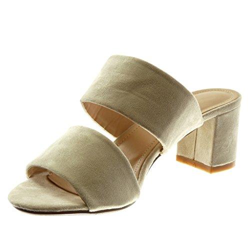 Angkorly Damen Schuhe Sandalen Mule - Slip-on - String Tanga Blockabsatz High Heel 5.5 cm Beige