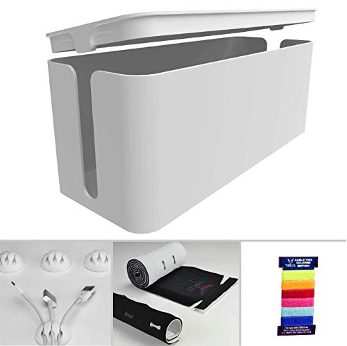 , Cord Organizer and Cover with Cable Kit - Desk, wall mounted TV, Video, Game and Computer Wire holder, hider, protector with Cable Sleeve ,white edition by Tokye XXL VALUE ()