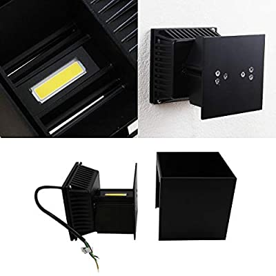 Passica Outdoor LED Wall Light Porch Sconce 20W Black Modern Waterproof Up and Down Adjust White Light 4000K Hallway Wall Lamp