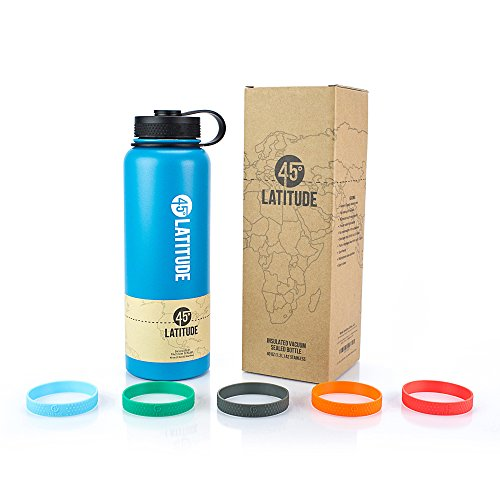 0 oz Water Bottle - Stay Hydrated Camping The Gym, Office Or Sports No BPA Stainless Steel Bottle - Perfectly Ice Cold Or Hot Beverages Leak Proof Lid - Perfect Gift - Cayman Blue ()