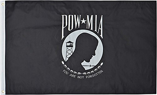 (Green Grove Products POW MIA Flag 3' x 5' Ft 210D Nylon Premium Outdoor Embroidered Double Sided Flag)