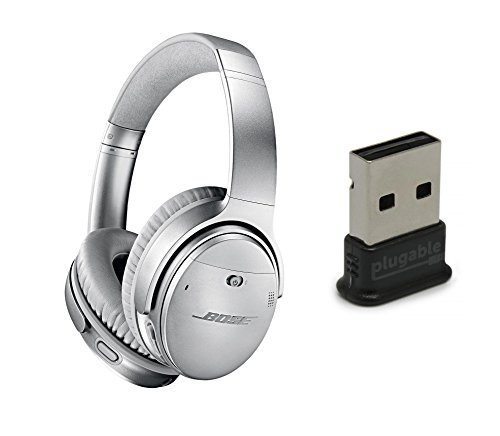Bose QuietComfort 35 (Series II) Noise Cancelling Wireless Headphones, Silver, with Plugable USB 2.0 Bluetooth Adapter (USB-BT4LE)