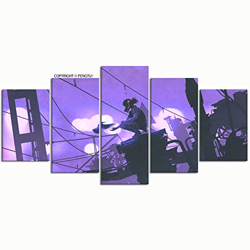 PENGTU Paintings Modern Canvas Painting Wall Art Pictures 5 Pieces Man Gas mask Feeding Bird Futuristic Wall Decor HD Printed Posters Frame