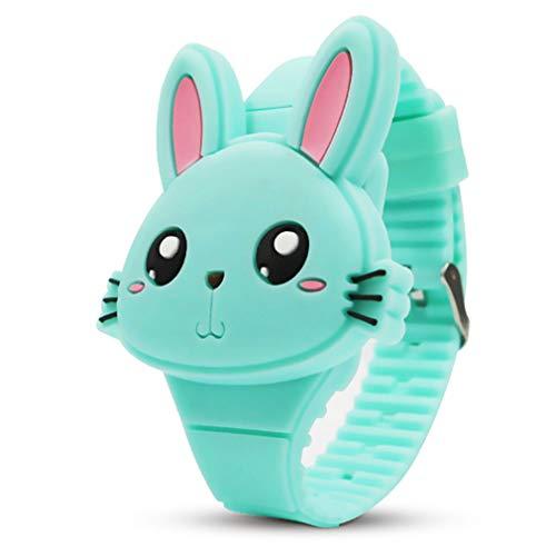 YSLON Children's Electronic Watch, Cute Rabbit Shape, Girl Gifts. (Green)