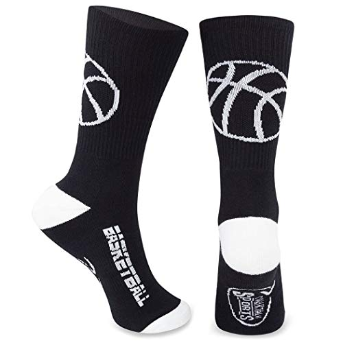 Athletic Half Cushioned Crew Socks | Basketball Silhouette Design | Black/White (Best Under Armor Basketball Shoes)