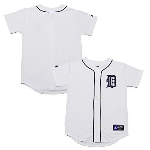 Detroit Tigers Word Mark Blank White Youth Authentic Home Replica Jersey (Medium - Tigers Jersey White Detroit