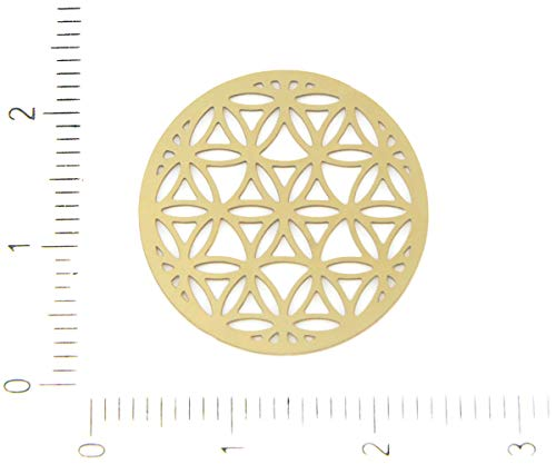 4pcs Gold Plated Hypoallergenic Stainless Steel Coin Seeds of Life Mandala Filigree Laser Cut Flat Pendant Charm Earring Metal Findings 20mm
