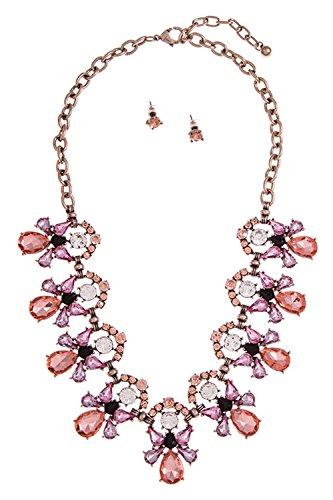 GlitZ Finery FACETED FRAMED GEM LINK ACCENT NECKLACE SET (Pink)