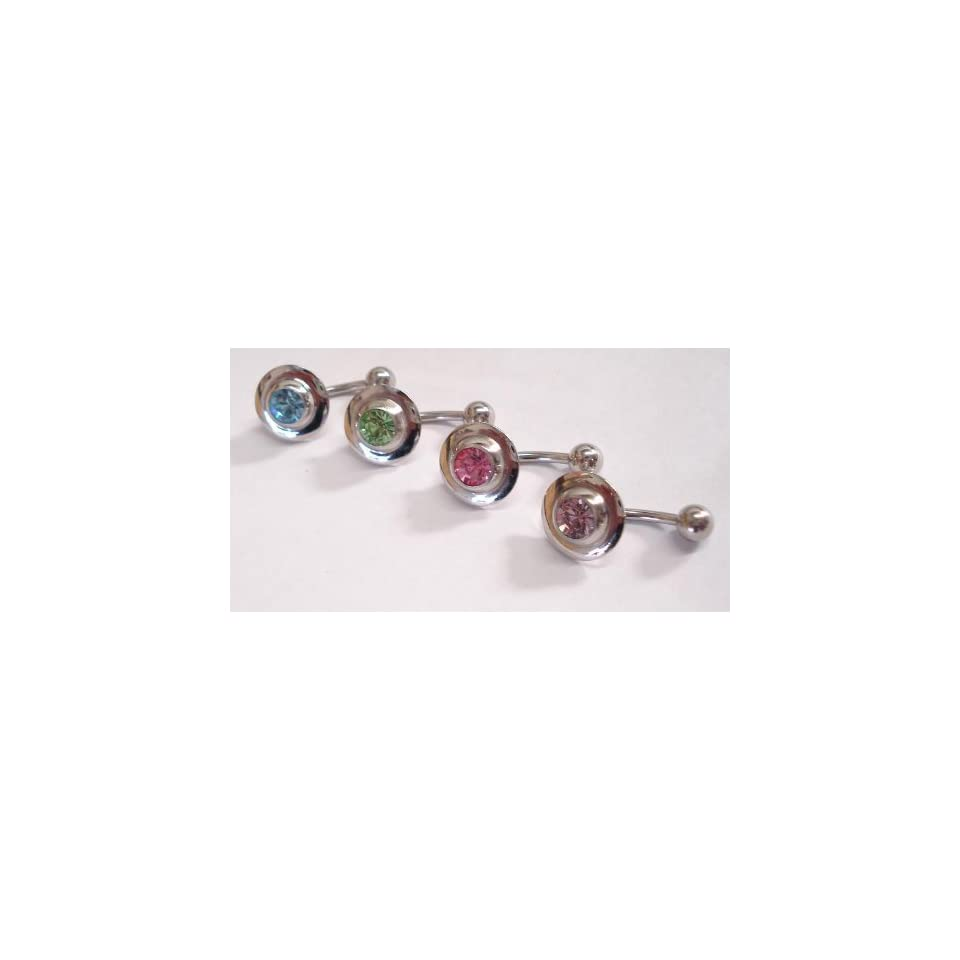 Set of 4 Blue, Green, Pink, and Purple Gem Belly Rings