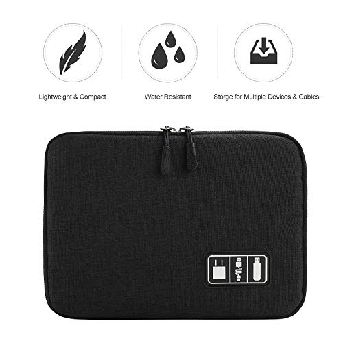 Electronics Organizer, Jelly Comb Electronic Accessories Cable Organizer Bag Waterproof Travel Cable Storage Bag for Charging Cable, Power Bank, iPad (Up to 11'' and More-Large(All Black) by Jelly Comb (Image #1)