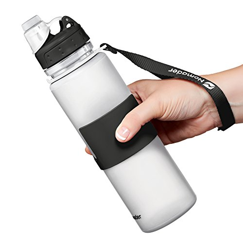 Nomader BPA Free Collapsible Sports Water Bottle - Foldable with Reusable Leak Proof Twist Cap for Travel Hiking Camping Outdoors and Gym - 22 oz (White)