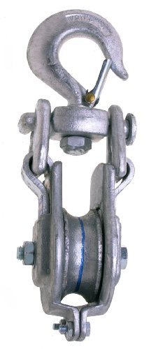 Campbell 3075V 6 Single Steel Eastern Safety Lock Snatch Block with Stiff Swivel V Latch Hook, 3000 lbs Load Capacity, 3 Sheave by Apex Tool Group