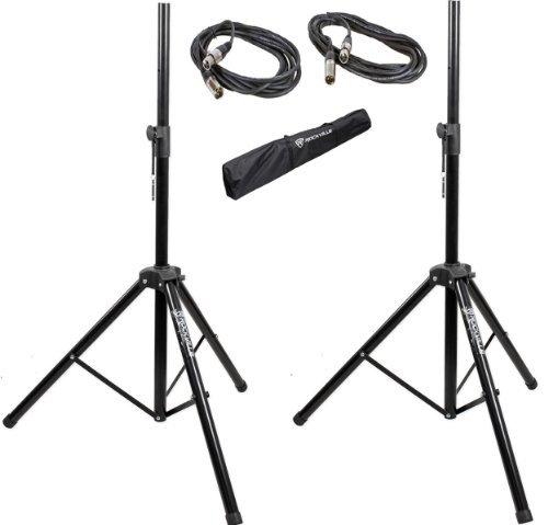 Pair of Rockville Adjustable Tripod Speaker/Light Stands+(2) 20 Foot XLR (Lights Wire Stand)