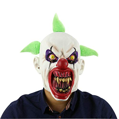 Halloween Scary Clown Killer Prop Crazy Horror Bloodthirsty Head Mask with -