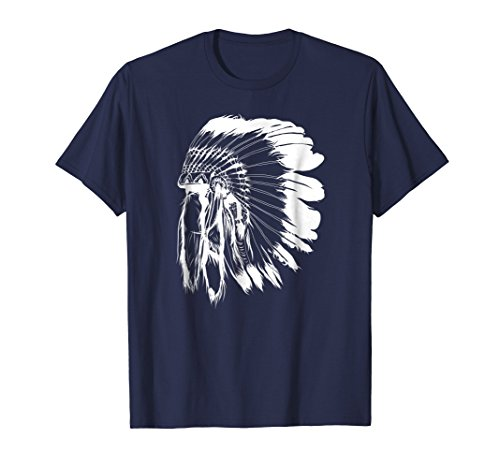 - Mens Native American Feather Headdress Tee Native Indian T Shirt 3XL Navy