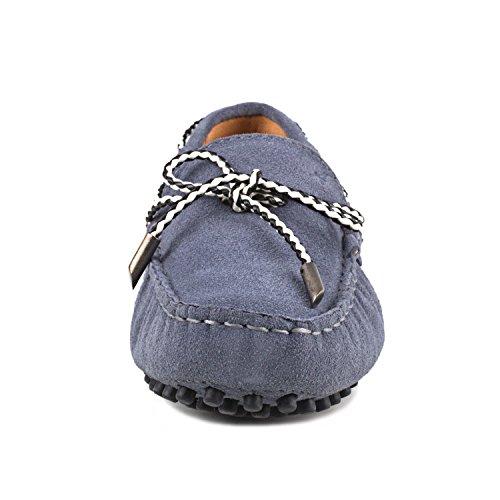 con loafers Scuro nubuk Donna Donna Shenduo fiocchetto casual D7051 Mocassini pelle scarpe Scarpe Grigio di Tqzwa